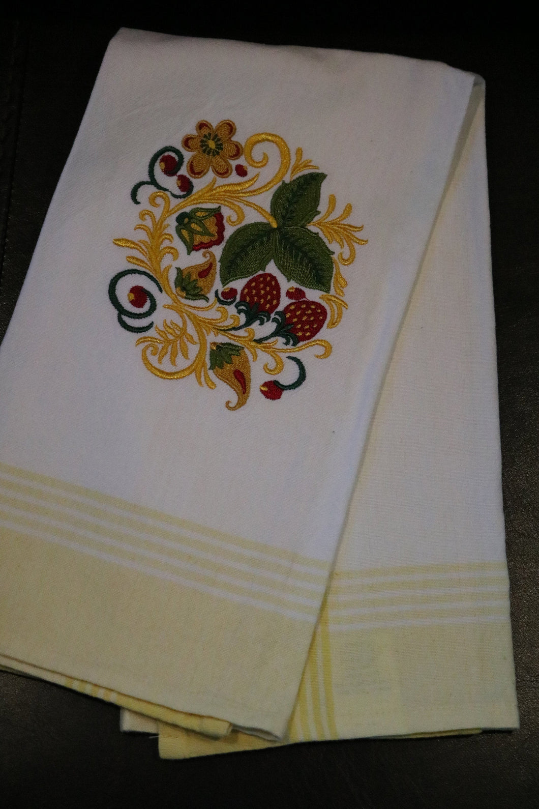 Yellow & White Strawberries Embroidered 100% Cotton Kitchen Towel