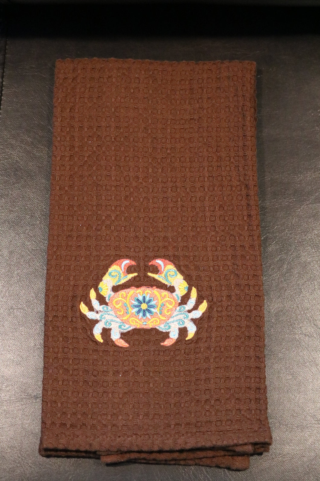 Crab Embroidered Kitchen Towel