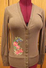 Load image into Gallery viewer, Spring Snap Front Cardigan - Mocha Asters & Bluebells - Size Medium