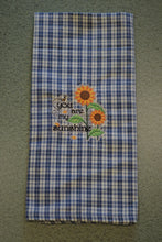 Load image into Gallery viewer, Blue & White Sunflowers Embroidered 100% Cotton Kitchen Towel