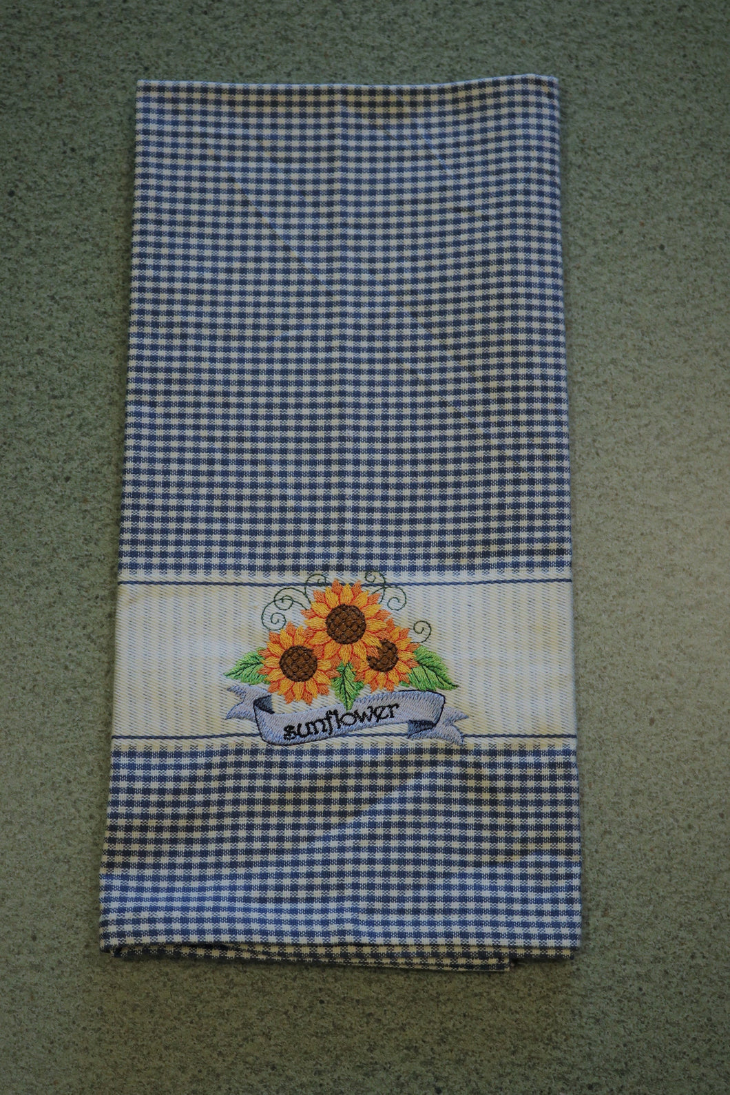 Blue & White Sunflowers Embroidered 100% Cotton Kitchen Towel