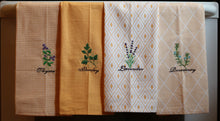Load image into Gallery viewer, Kitchen Herbs Embroidered 100% Cotton Kitchen Towel Melon & White