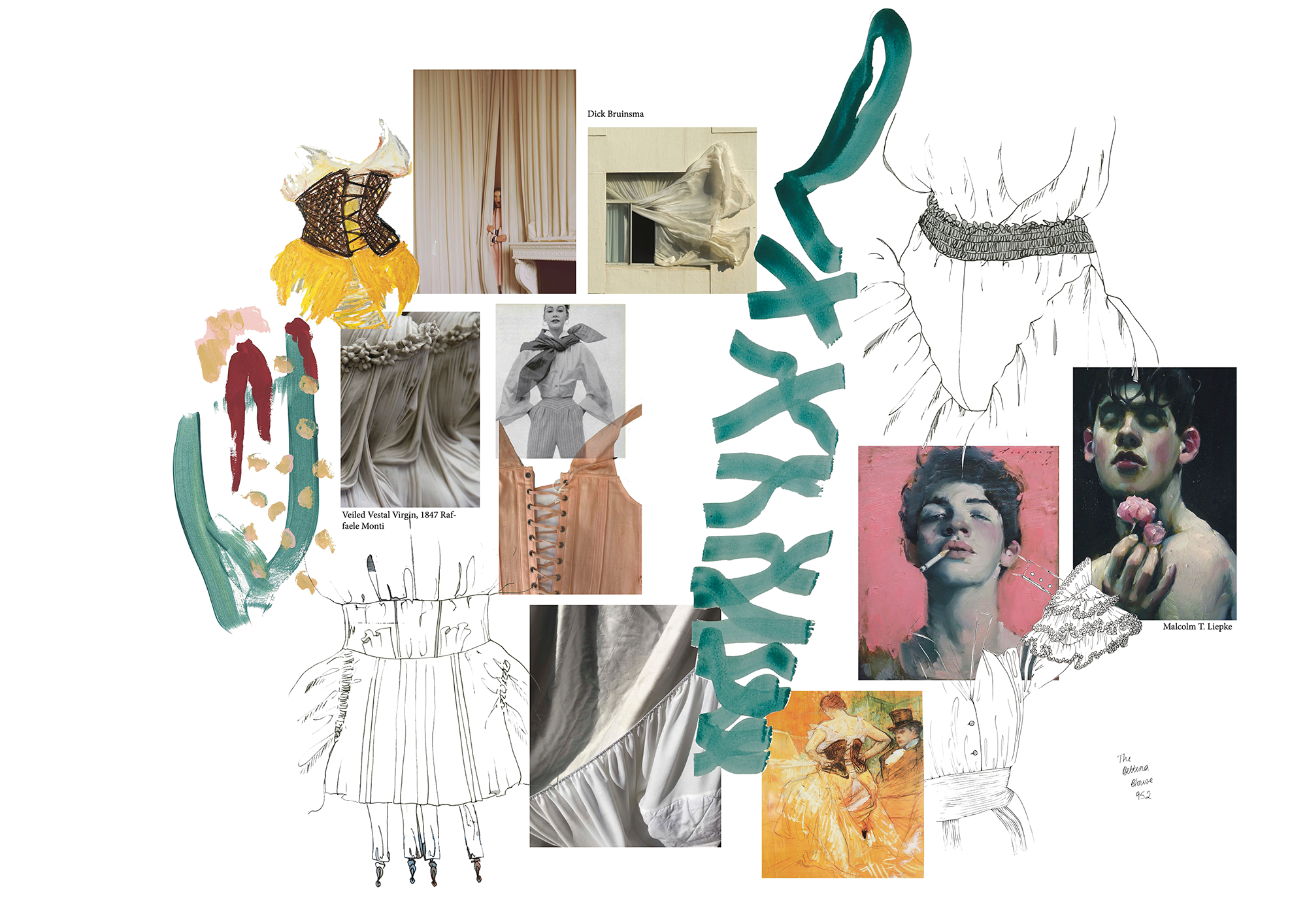 collage of givenchy collection and painting of ribbons, elizabethan underwear, portrait photography and fashion and curtains with silk