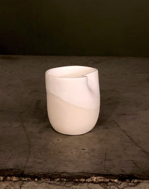 Porcelain cup / mug hand made with perfect indent your grasp