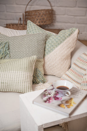 Diamond Feijoa Green Pillow with Tassels