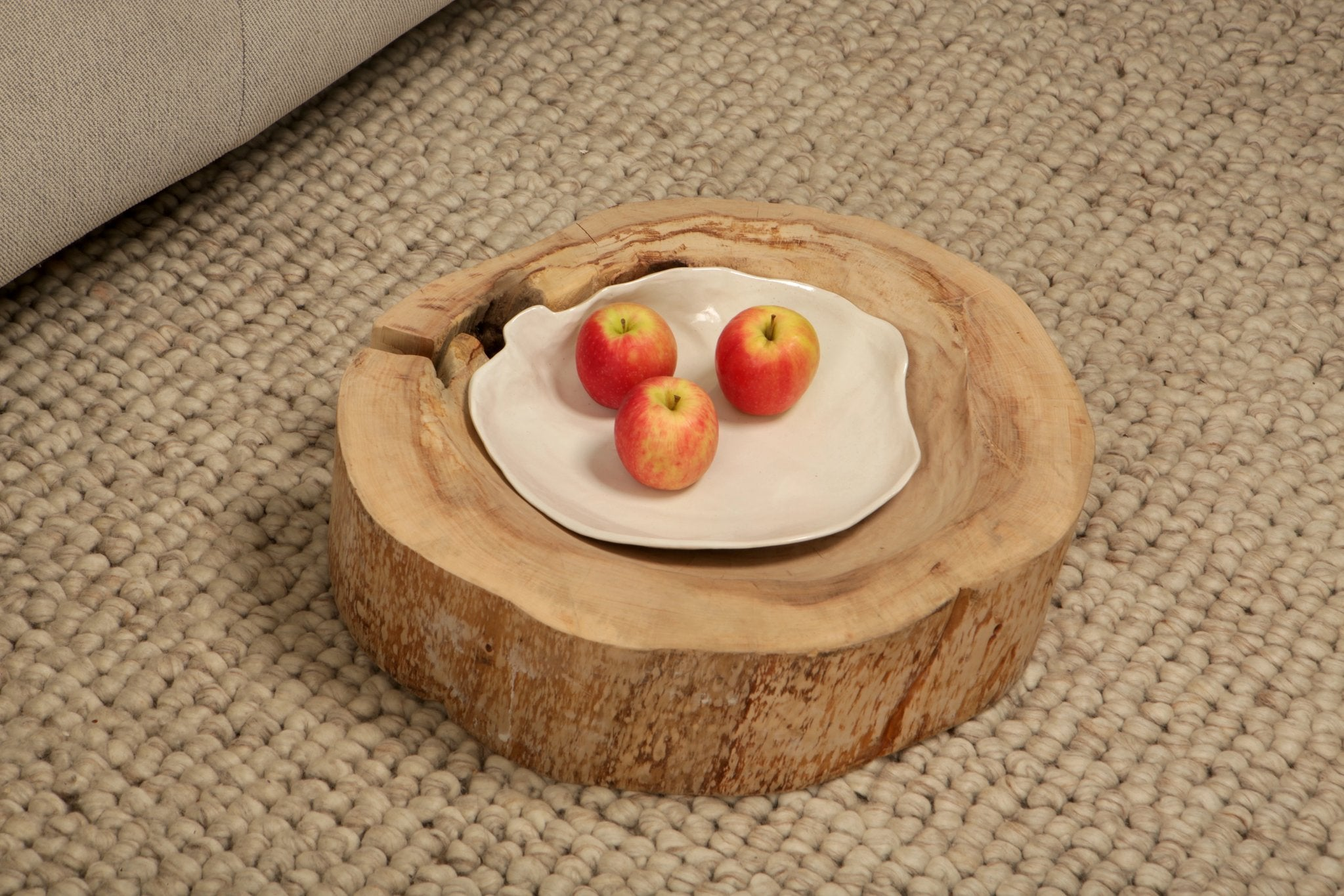 Large Shell bowl combination - Bowl/side table from reclaimed wood and ceramics