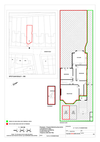 Residential Land Registry Lease Plan or 2D Scaled Floor Plan