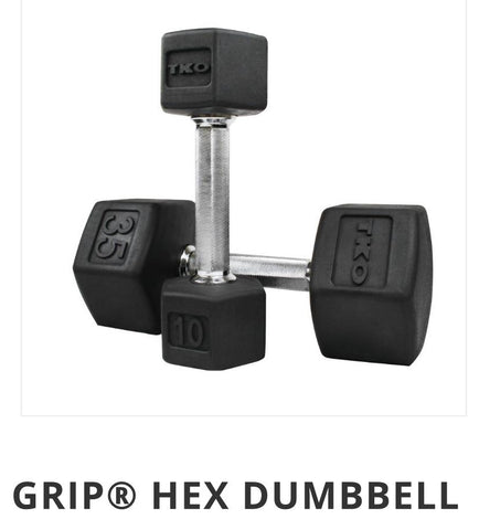 TKO Rubber Hex Dumbbell Pairs.