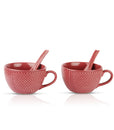 Pink Polka Soup Mugs - Set of 2