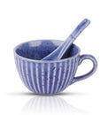 Blue Ribbed Soup Mugs - Set Of 2