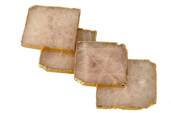 Rose Quartz Coasters - Set of 4