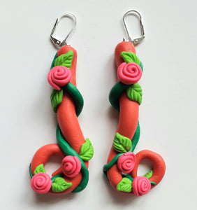Rose's and Vines Clay Earrings