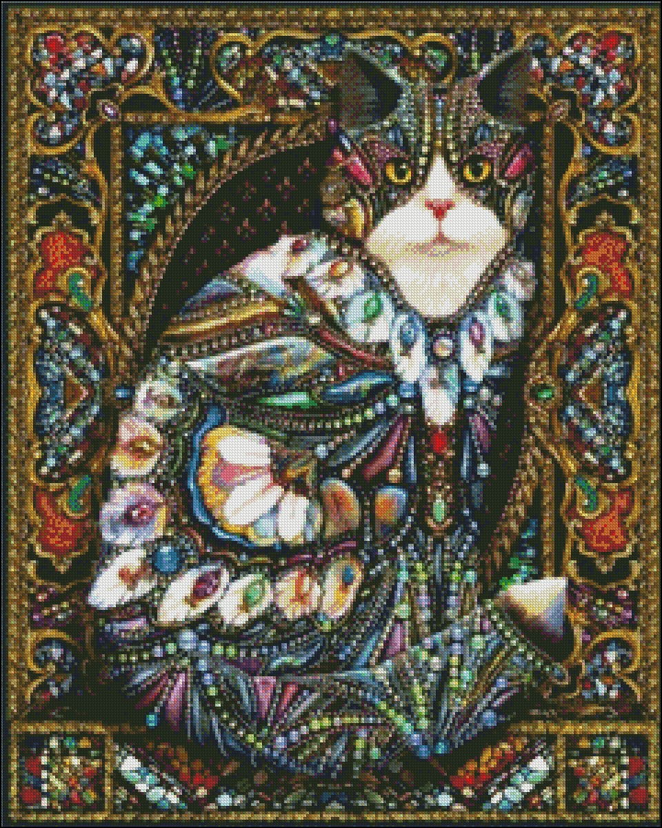 Jeweled Cat Cross-stitching PDF Pattern