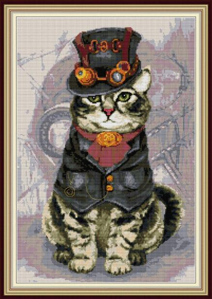 Mighty Cat Printed or Counted Cross Stitch Kits