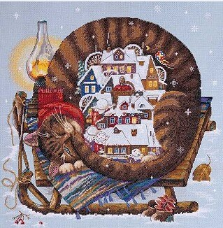 Christmas Cat Cross - Stitch Kit