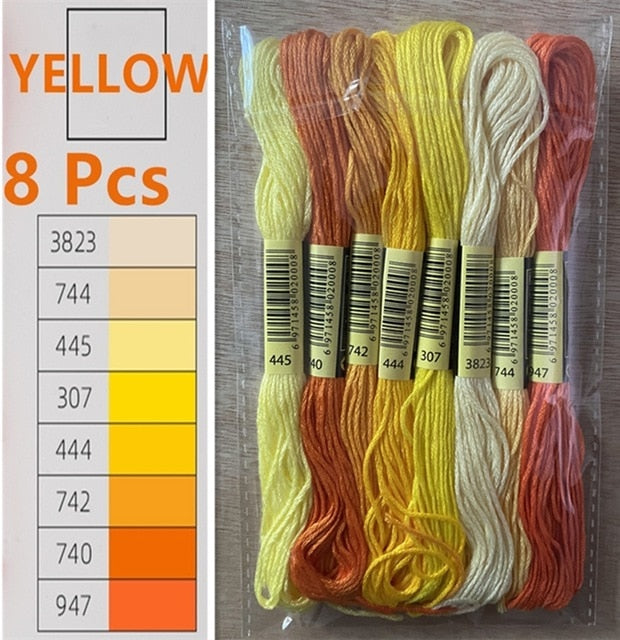Yellow Embroidery Thread 8 Pcs/Pack Gradient Colors Set