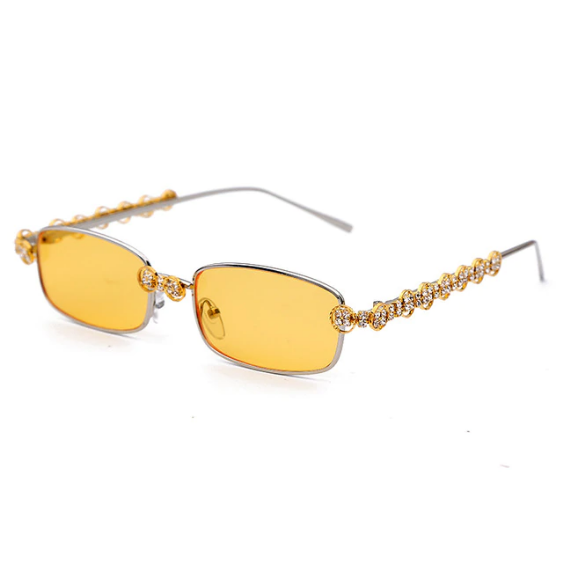 Rhinestone Rectangle Sunglasses
