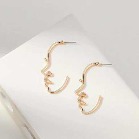 Gold Profile Earrings