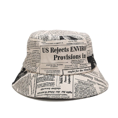 Newspaper Printed Bucket Hat