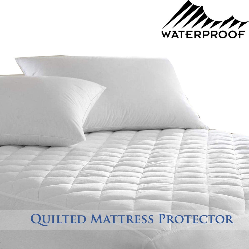 100/%COTTON WATERPROOF QUILTED MATTRESS PROTECTOR FITTED SHEET SINGLE DOUBLE KING