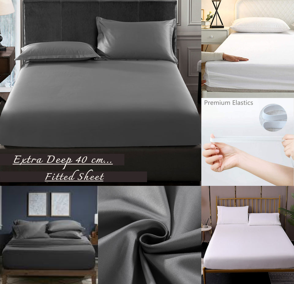 DEEP FITTED SHEET EGYPTIAN COTTON 600 THREAD COUNT BED SHEETS DOUBLE SUPER KING
