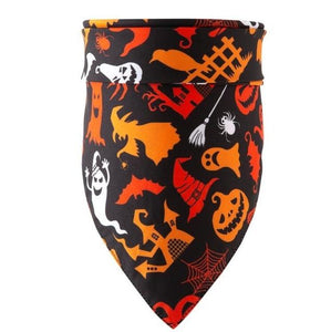 Christmas Pet Dog Bandana Small Large Dog Bibs Towel Scarf Halloween Pumpkin Printing Puppy Pet Grooming Costume Accessories - SaturnLoop Shops Sales