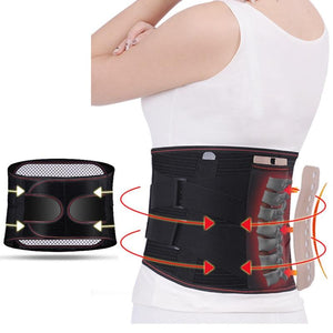 Orthopedic Tourmaline Self-heating Magnetic Steel Bone Waist Widen Belt Men Women Lumbar Support Back Brace Belt With 3pcs Pad - SaturnLoop Shops Sales