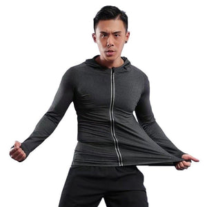 Large Size Men Run Jackets Fitness Sports Coat Soccer Football Training Gym corset hooded Breathable Quick Dry Reflective zipper - SaturnLoop Shops Sales
