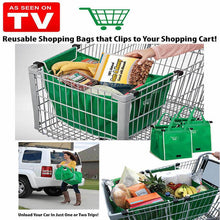 Load image into Gallery viewer, 1Pcs Foldable Tote Handbag Reusable Large Storage Bags Trolley Clip-To-Cart Grocery Shopping Bags High Capacity - SaturnLoop Shops Sales