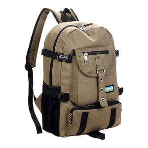 Arcuate shoulder strap zipper casual bag backpack school bag canvas bag for men - SaturnLoop Shops Sales