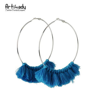 Artilady tassel hoop earrings vintage for  women - SaturnLoop Shops Sales