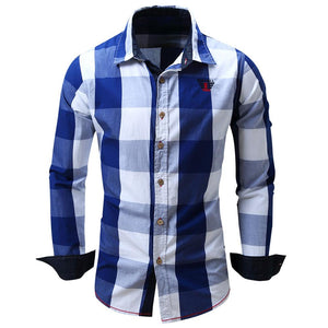 Turn-down Collar Plaid Pattern Long Sleeve Shirt for Men - SaturnLoop Shops Sales