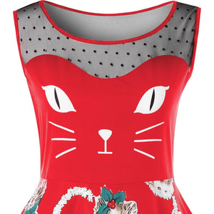 Christmas Plus Size Kitten Swing Dress - SaturnLoop Shops Sales
