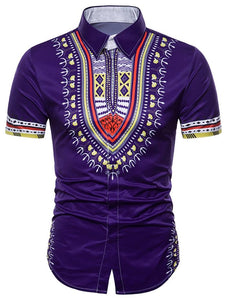 African Dashiki Hidden Button Shirt - SaturnLoop Shops Sales