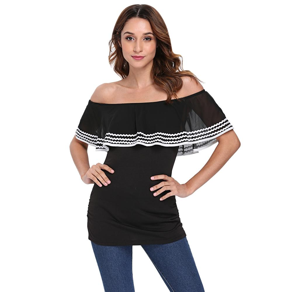Off The Shoulder Layered Chiffon Flounce Waved Print Women T-shirt - SaturnLoop Shops Sales