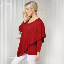 Load image into Gallery viewer, V Neck Long Sleeve Layered Asymmetric Women T-shirt - SaturnLoop Shops Sales