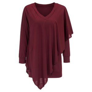 V Neck Long Sleeve Layered Asymmetric Women T-shirt - SaturnLoop Shops Sales