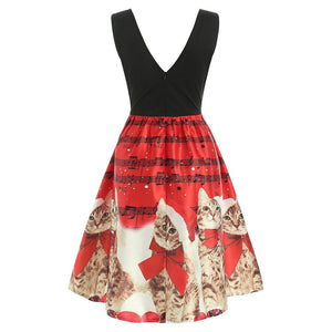 Christmas Cats Musical Notes Print Sleeveless Dress - SaturnLoop Shops Sales