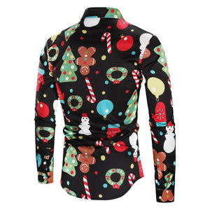 Christmas Theme Print Button Up Shirt - SaturnLoop Shops Sales
