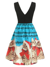 Load image into Gallery viewer, Christmas Cats Musical Notes Print Sleeveless Dress - SaturnLoop Shops Sales