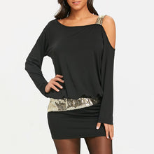 Load image into Gallery viewer, Long Sleeve Sequins Cold Shoulder Blouson Dress - SaturnLoop Shops Sales