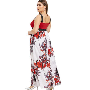 Plus Size Sleeveless Floral Print Maxi Dress - SaturnLoop Shops Sales