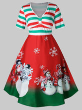Load image into Gallery viewer, Plus Size Vintage Stripe Snowman Print Christmas Swing Dress - SaturnLoop Shops Sales
