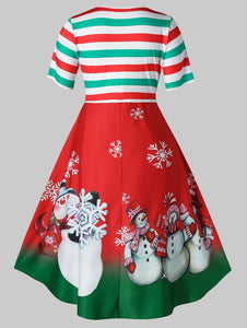 Plus Size Vintage Stripe Snowman Print Christmas Swing Dress - SaturnLoop Shops Sales