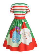 Load image into Gallery viewer, Plus Size Christmas Santa Claus Striped A Line Dress - SaturnLoop Shops Sales