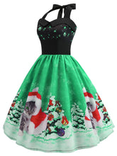 Load image into Gallery viewer, Christmas Hat Cat Print Shirred Sleeveless Dress - SaturnLoop Shops Sales