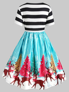 Plus Size Christmas Tree Elk Print Vintage Swing Dress - SaturnLoop Shops Sales