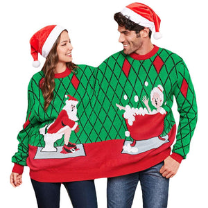 Siamese Christmas Sweater Pullover Round Neck Long Sleeve - SaturnLoop Shops Sales