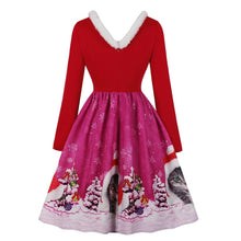 Load image into Gallery viewer, V-neck Christmas Print Vintage Dress for Women - SaturnLoop Shops Sales