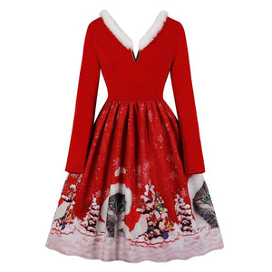 V-neck Christmas Print Vintage Dress for Women - SaturnLoop Shops Sales